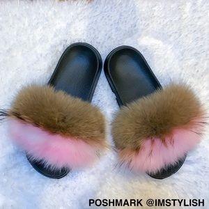 I'm Stylish Shoes - 🆕 Genuine Fox Fur Beach Slides Slippers Sandals
